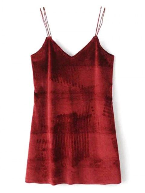 latest Strapy Velvet Mini Dress - BURGUNDY M Mobile