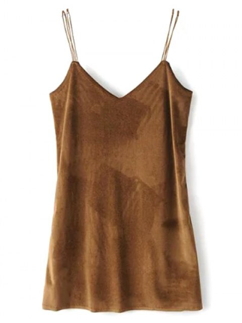 fashion Strapy Velvet Mini Dress - BROWN L Mobile