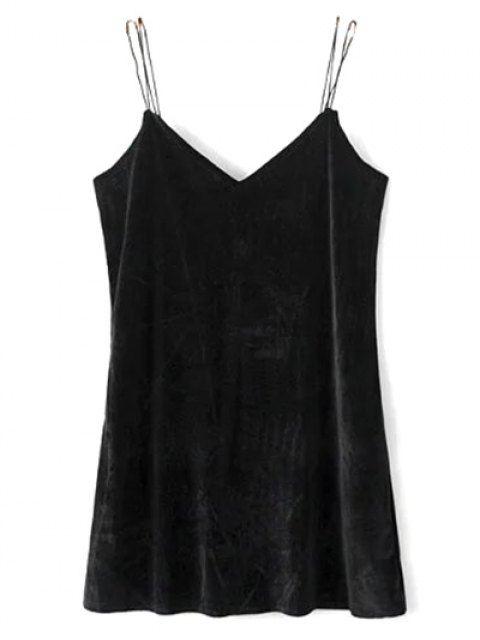 affordable Strapy Velvet Mini Dress - BLACK S Mobile