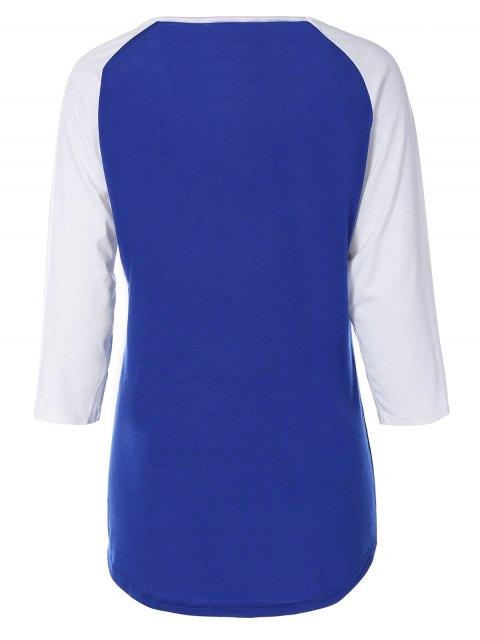 lady Color Block Happy T Shirt - BLUE S Mobile