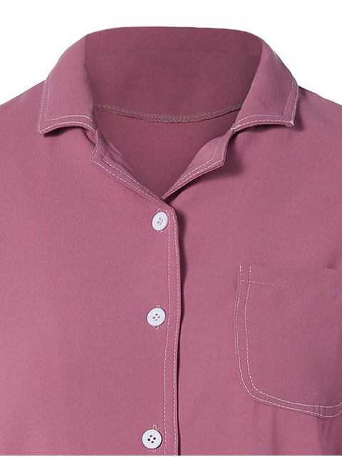 online Single-Breasted Lapel Collar Shirt - WINE RED M Mobile