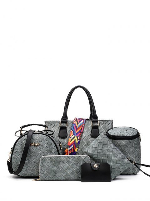 womens Weaving Handbag With Colored Strap -   Mobile