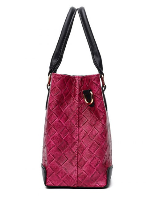 womens Weaving Handbag With Colored Strap - GRAY  Mobile