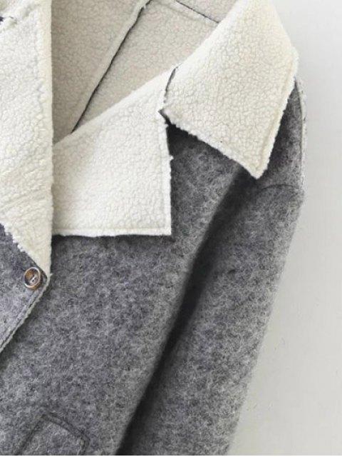 women Double Breasted Fleece Lined Coat - GRAY M Mobile