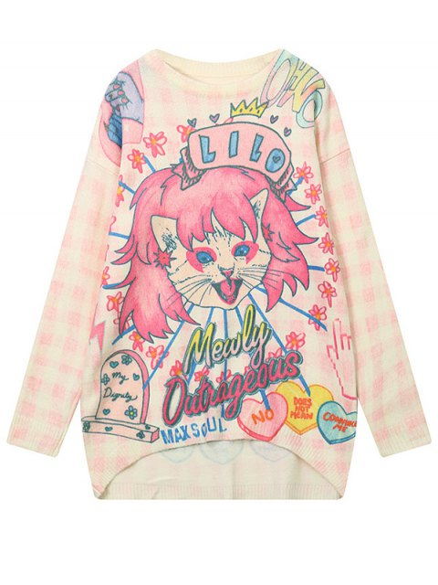 trendy Cartoon Pattern High Low Sweater - LIGHT PINK ONE SIZE Mobile