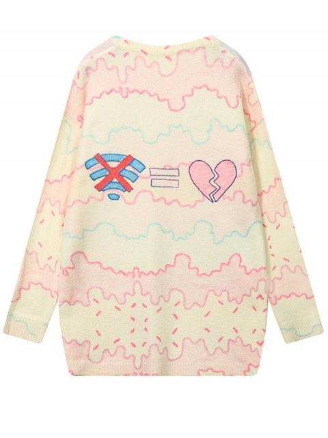 chic Cartoon Letter Pattern High Low Sweater - COLORMIX ONE SIZE Mobile