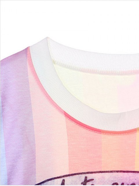 online Character Pattern Jewel Neck Tee - COLORMIX ONE SIZE Mobile