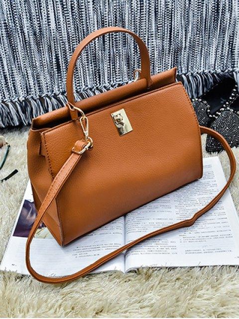 hot Colored Strap PU Leather Handbag - BROWN  Mobile
