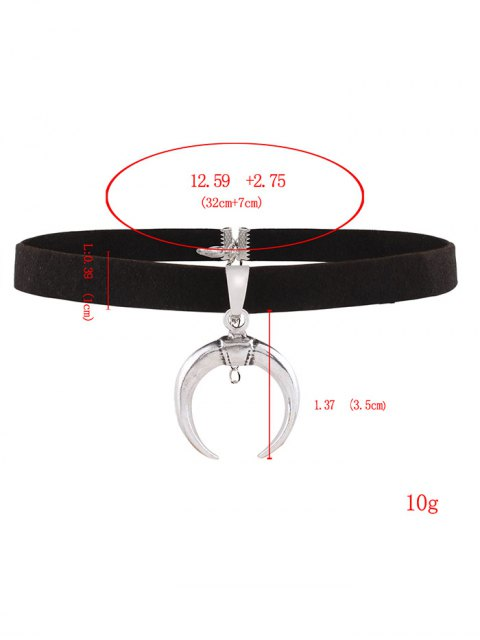 fashion Double Horn Velvet Choker - BLACK  Mobile