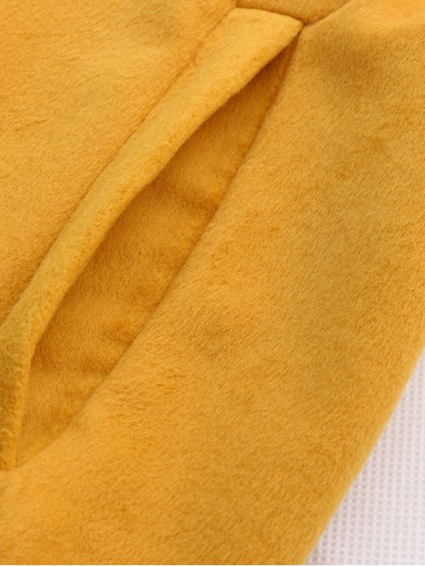 trendy Wool Blend Shawl Collar Belted Waistcoat - YELLOW S Mobile