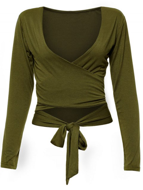 shop Long Sleeve Wrap Front Criss Cross Crop Top - ARMY GREEN XL Mobile