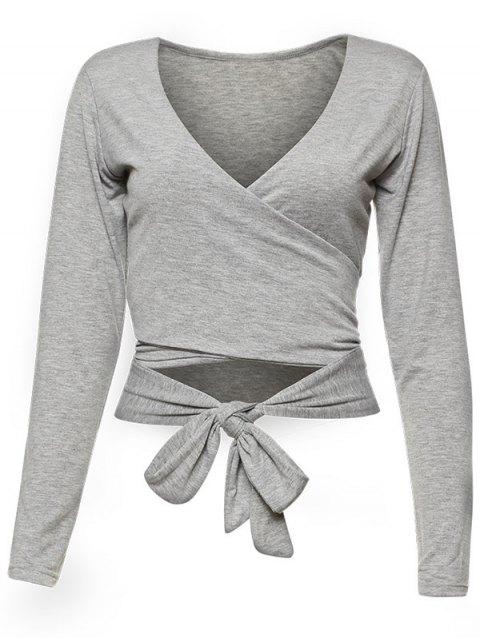 fancy Long Sleeve Wrap Front Criss Cross Crop Top - GRAY M Mobile