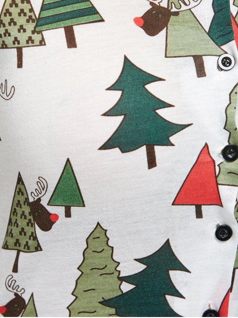 chic Christmas Tree Print Pajamas - GREEN M Mobile