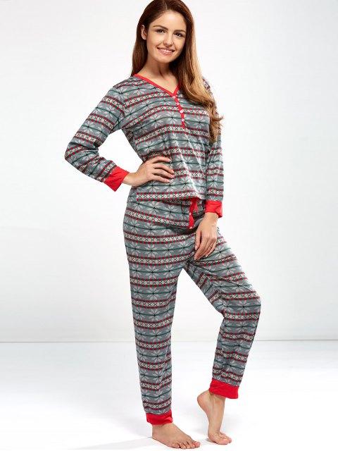 sale Christmas Snowflake Printed Pajamas - LIGHT GRAY L Mobile