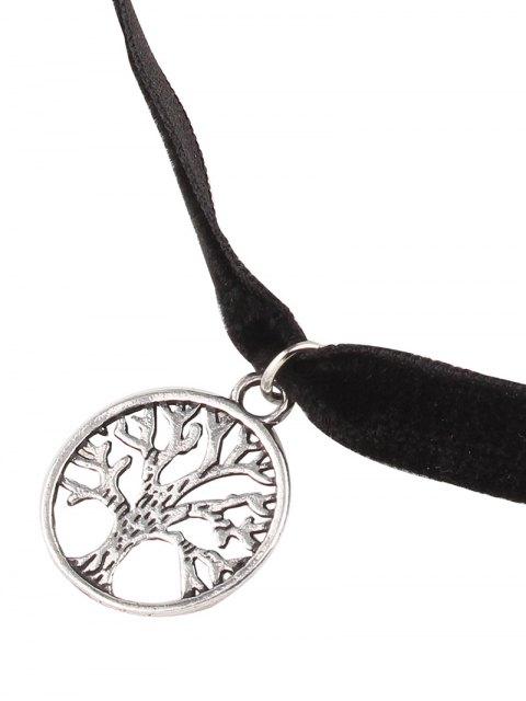 womens Adorn Life Tree Velvet Choker Necklace - SILVER  Mobile