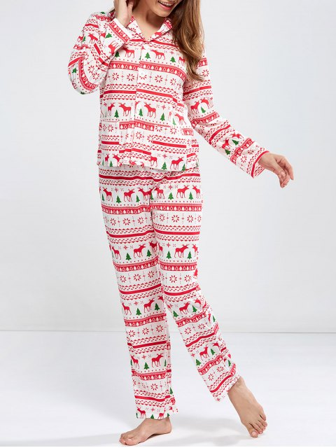 online Deer Print Long Sleeve Christmas Pajamas - RED M Mobile