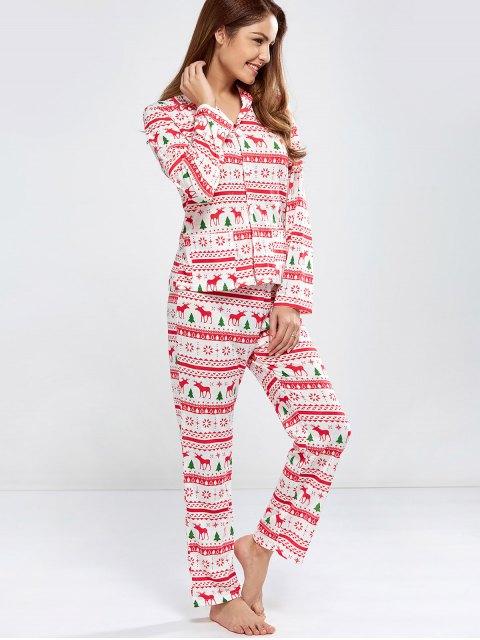 best Deer Print Long Sleeve Christmas Pajamas - RED L Mobile