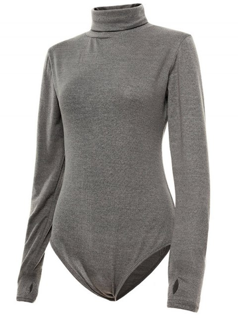 online Gloved Sleeve Turtle Neck Bodysuit - GRAY XL Mobile