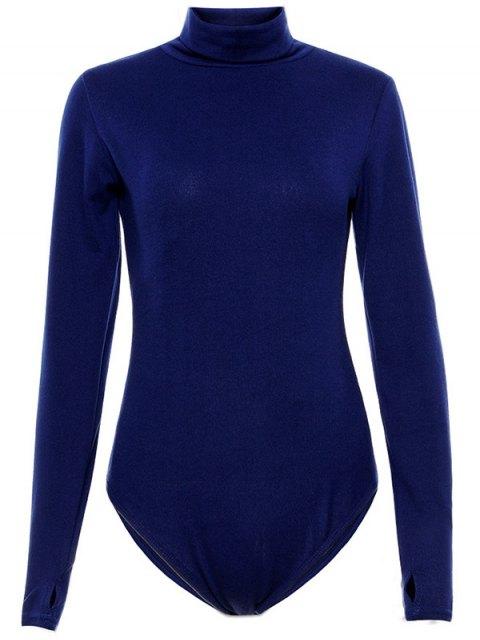 unique Gloved Sleeve Turtle Neck Bodysuit - PURPLISH BLUE XL Mobile