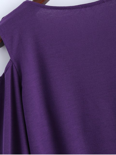 new Cold Shoulder V Neck Ruffles T-Shirt - PURPLE M Mobile