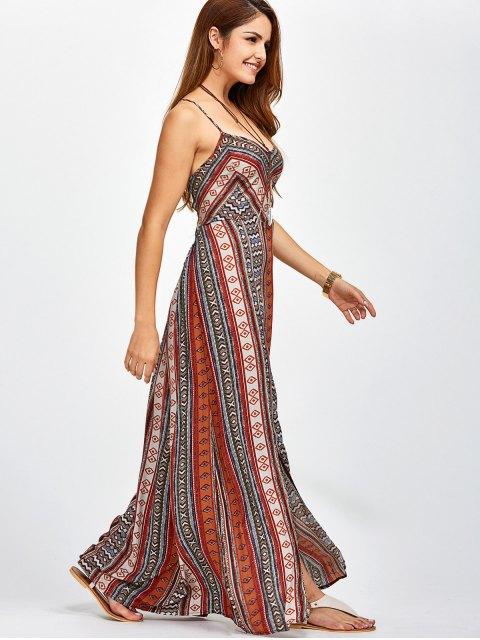 unique Sweetheart Cami Maxi Bohemian Dress - ORANGE RED M Mobile