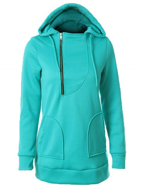 shops Zipper Embellished Drawstring Hoodie - OASIS 2XL Mobile