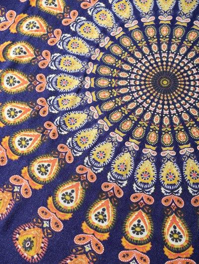 Floral Pattern Fringe Square Scarf - DENIM BLUE  Mobile