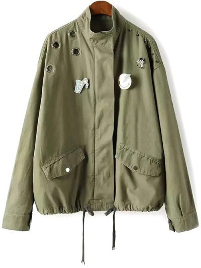 Rivet Patched Jacket - Army Green