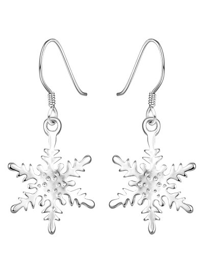 Rhinestone Christmas Snowflake Drop Earrings - Silver