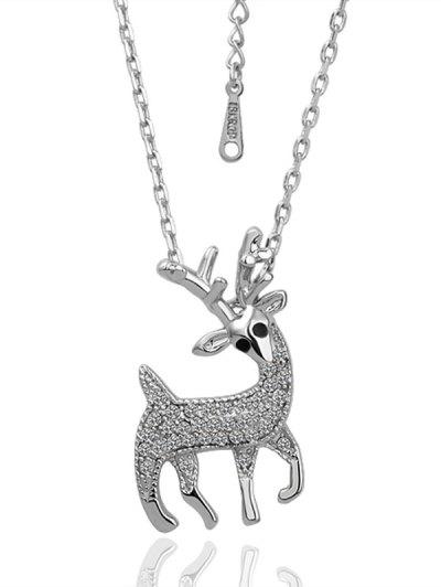 Rhinestoned Christmas Elk Necklace - Silver