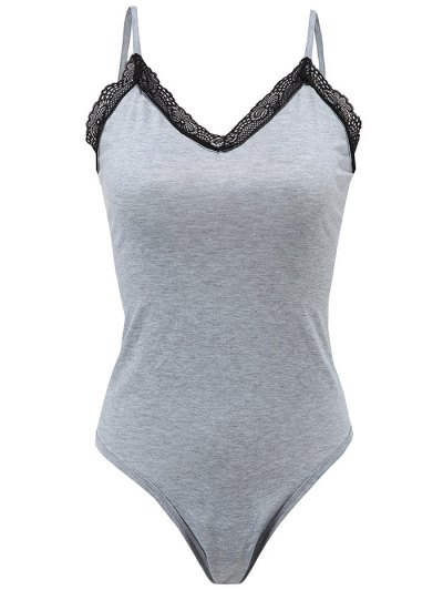 Lace Trim Strappy Bodysuit - GRAY M Mobile