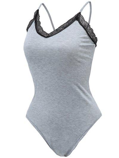 Lace Trim Strappy Bodysuit - GRAY S Mobile