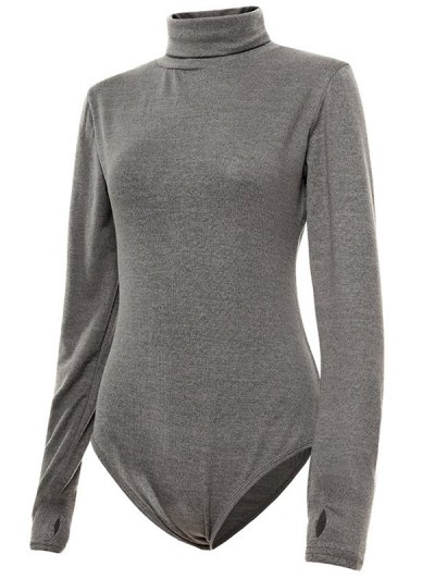 Gloved Sleeve Turtle Neck Bodysuit - GRAY L Mobile
