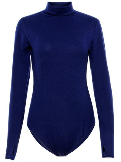 Gloved Sleeve Turtle Neck Bodysuit - PURPLISH BLUE S Mobile