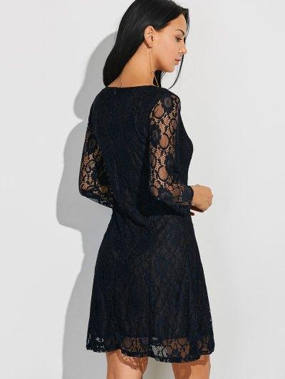 Three Quarter Sleeve Flared Lace Dress - BLACK L Mobile