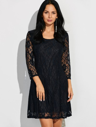 Three Quarter Sleeve Flared Lace Dress - BLACK M Mobile