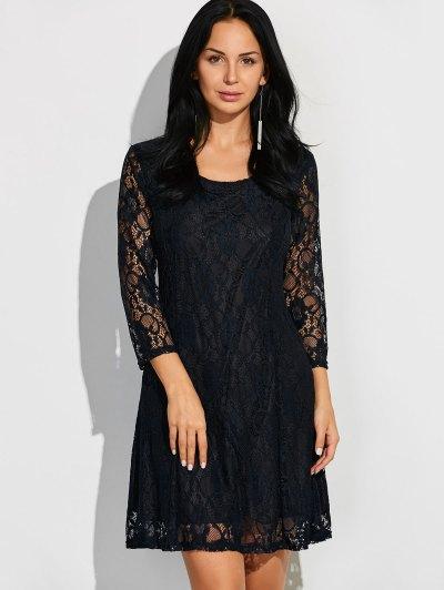 Three Quarter Sleeve Flared Lace Dress - BLACK S Mobile