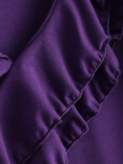 Cold Shoulder V Neck Ruffles T-Shirt - PURPLE L Mobile
