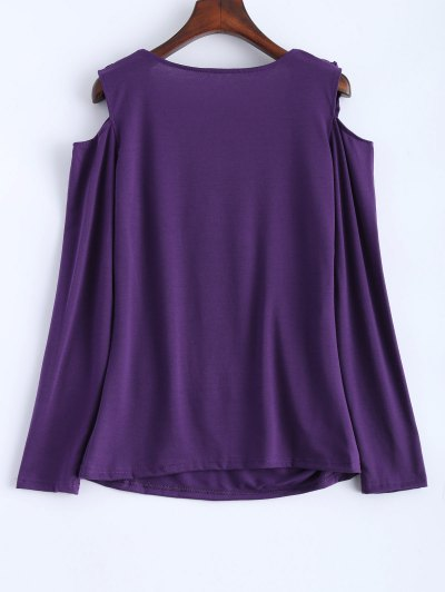 Cold Shoulder V Neck Ruffles T-Shirt - PURPLE M Mobile