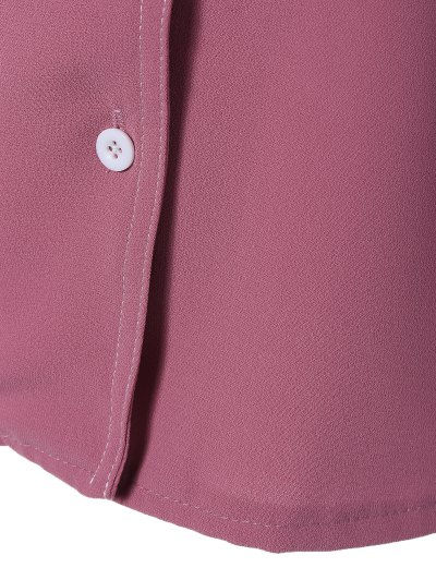 Single-Breasted Lapel Collar Shirt - WINE RED L Mobile
