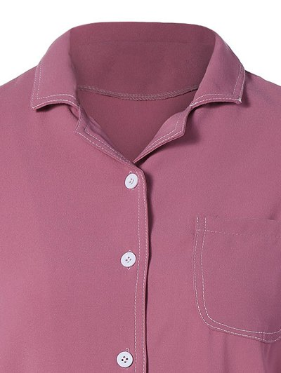 Single-Breasted Lapel Collar Shirt - WINE RED M Mobile