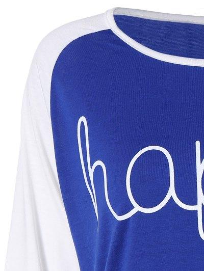 Color Block Happy T Shirt - BLUE XL Mobile