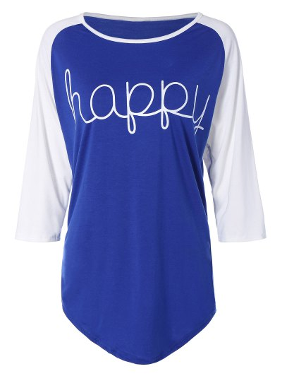 Color Block Happy T Shirt - BLUE M Mobile