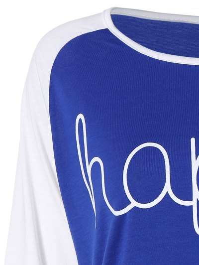 Color Block Happy T Shirt - BLUE S Mobile