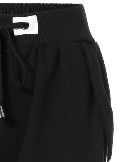 Striped Drawstring Sweatpants - BLACK ONE SIZE Mobile