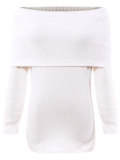 Foldover Off The Shoulder Jumper - WHITE M Mobile