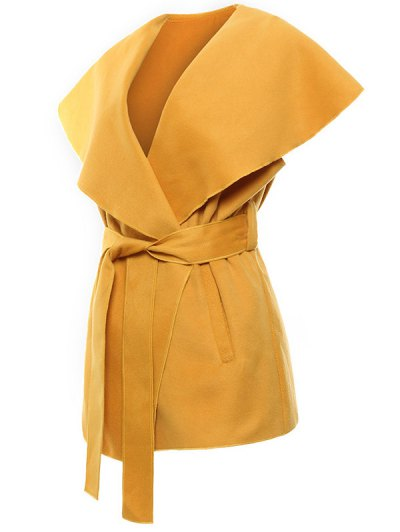 Wool Blend Shawl Collar Belted Waistcoat - YELLOW M Mobile