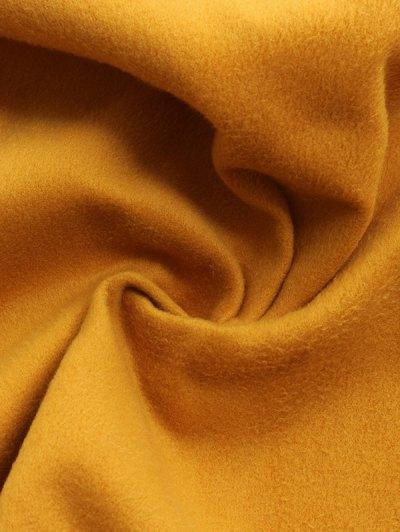 Wool Blend Shawl Collar Belted Waistcoat - KHAKI L Mobile