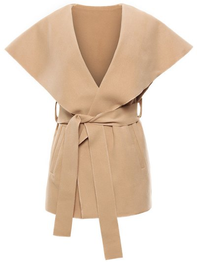 Wool Blend Shawl Collar Belted Waistcoat - KHAKI S Mobile