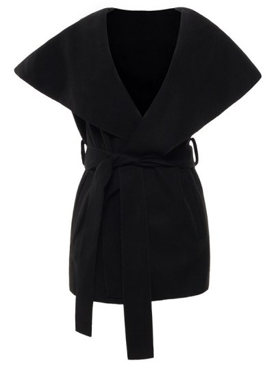 Wool Blend Shawl Collar Belted Waistcoat - BLACK M Mobile
